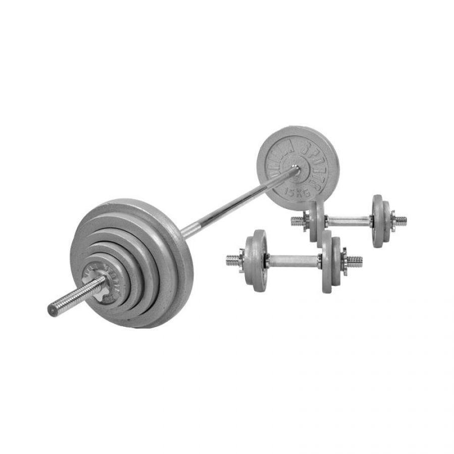 Halterset 100 kg Gietijzer (schroefsluiting)
