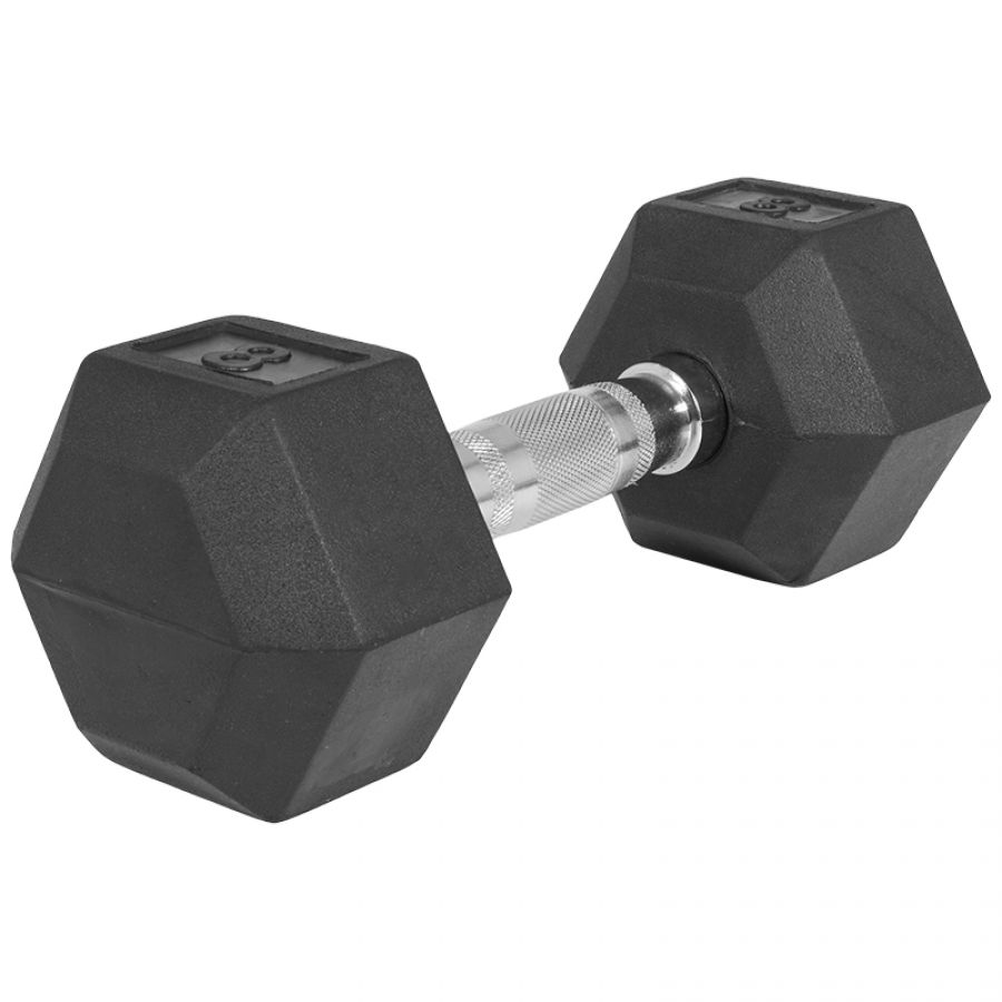 Dumbell 8 kg (1 x 8 kg) Hexagon Rubber