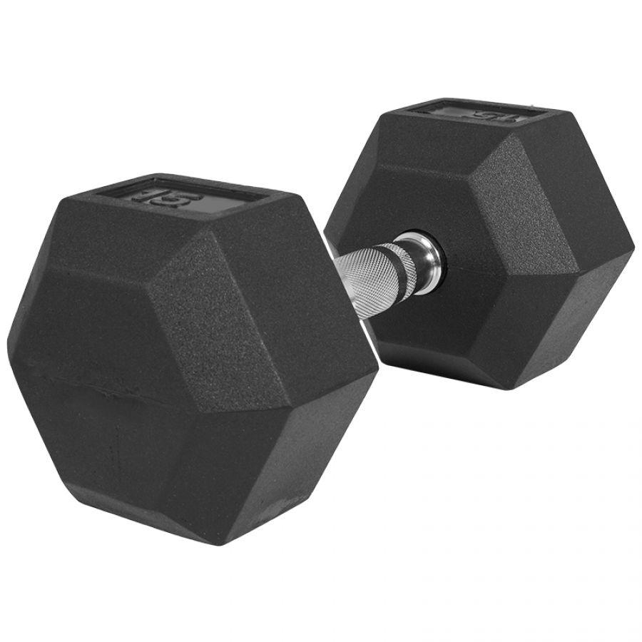 Dumbell 15 kg (1 x 15 kg) Hexagon Rubber