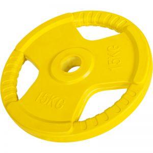 Olympische halterschijf 15 kg Gripper Gietijzer (50/51 mm, rubber coating)