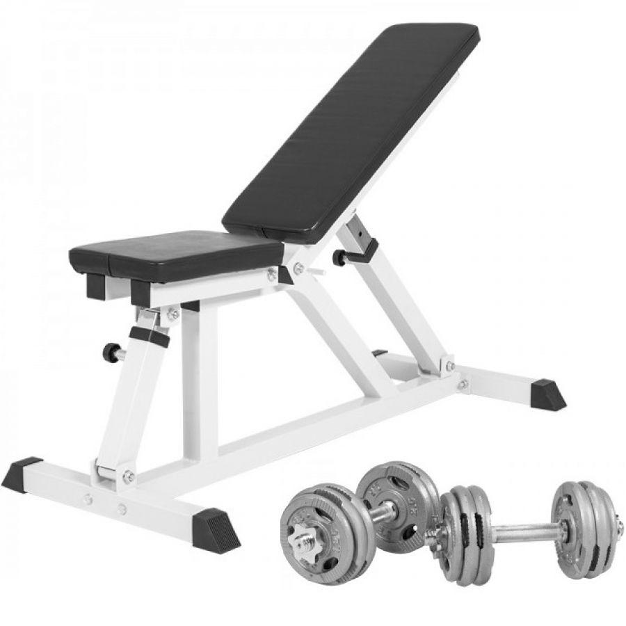 Multifunctionele Fitnessbank Incl. Dumbellset 30 kg Gripper Gietijzer