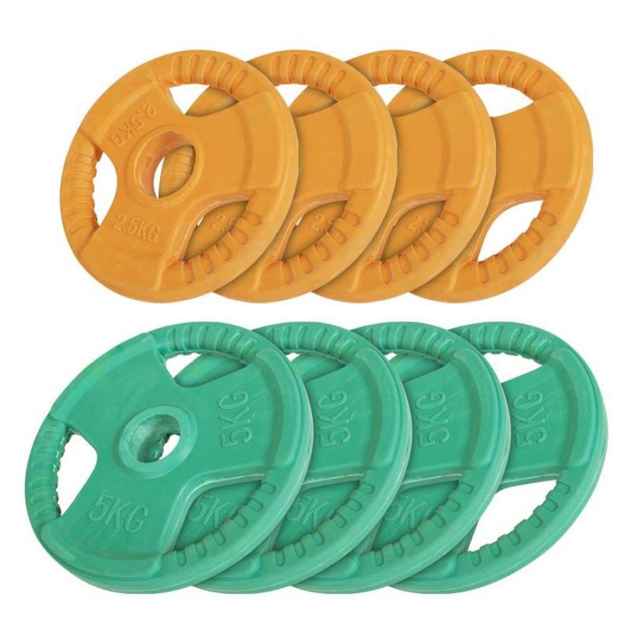 Voordeelbundel 30 kg (4 x 5 kg en 4 x 2,5 kg) Olympische Halterschijven Gripper Gietijzer (50/51 mm, rubber coating)
