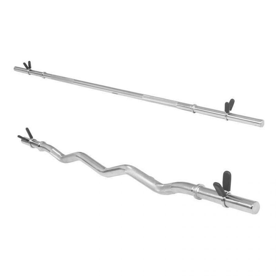 Voordeelset halterstangen - lange halter en EZ curl stang (veersluiting)