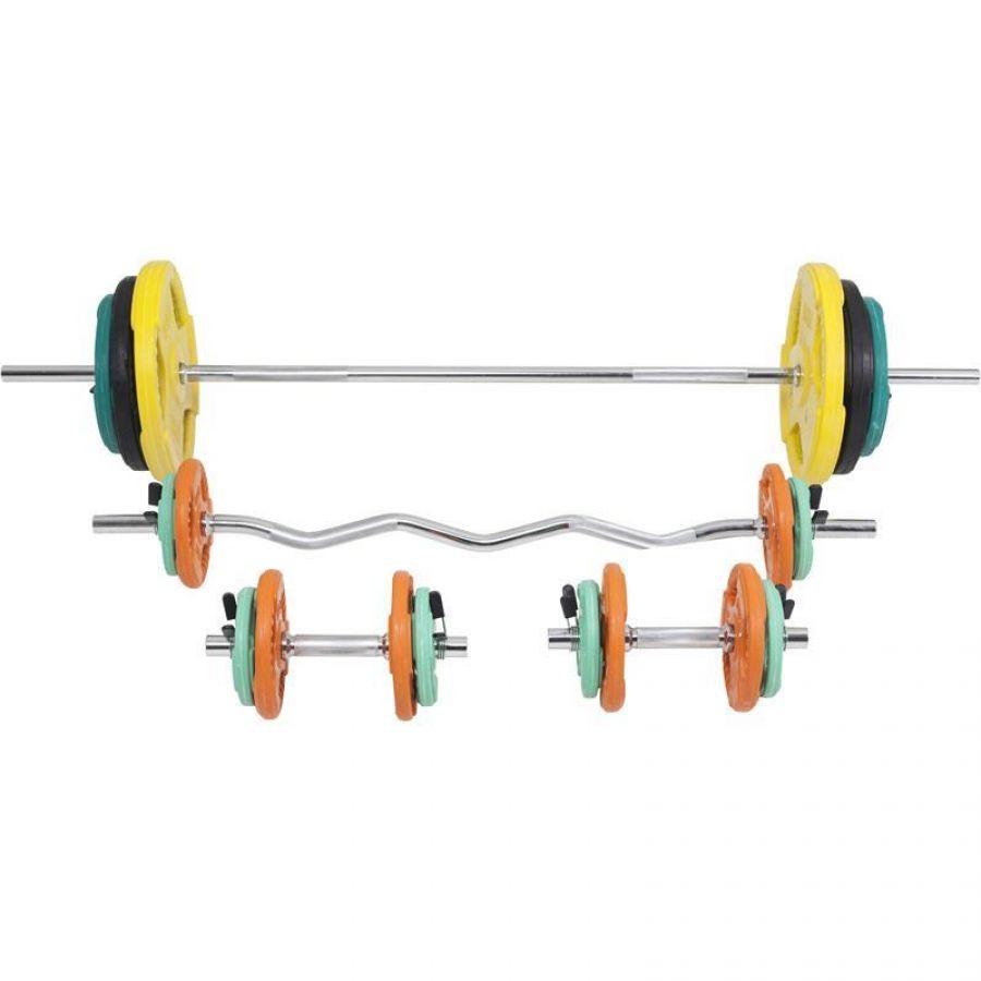 Halterset 108 kg Gripper Gietijzer (Rubber Coating, Veersluiting)