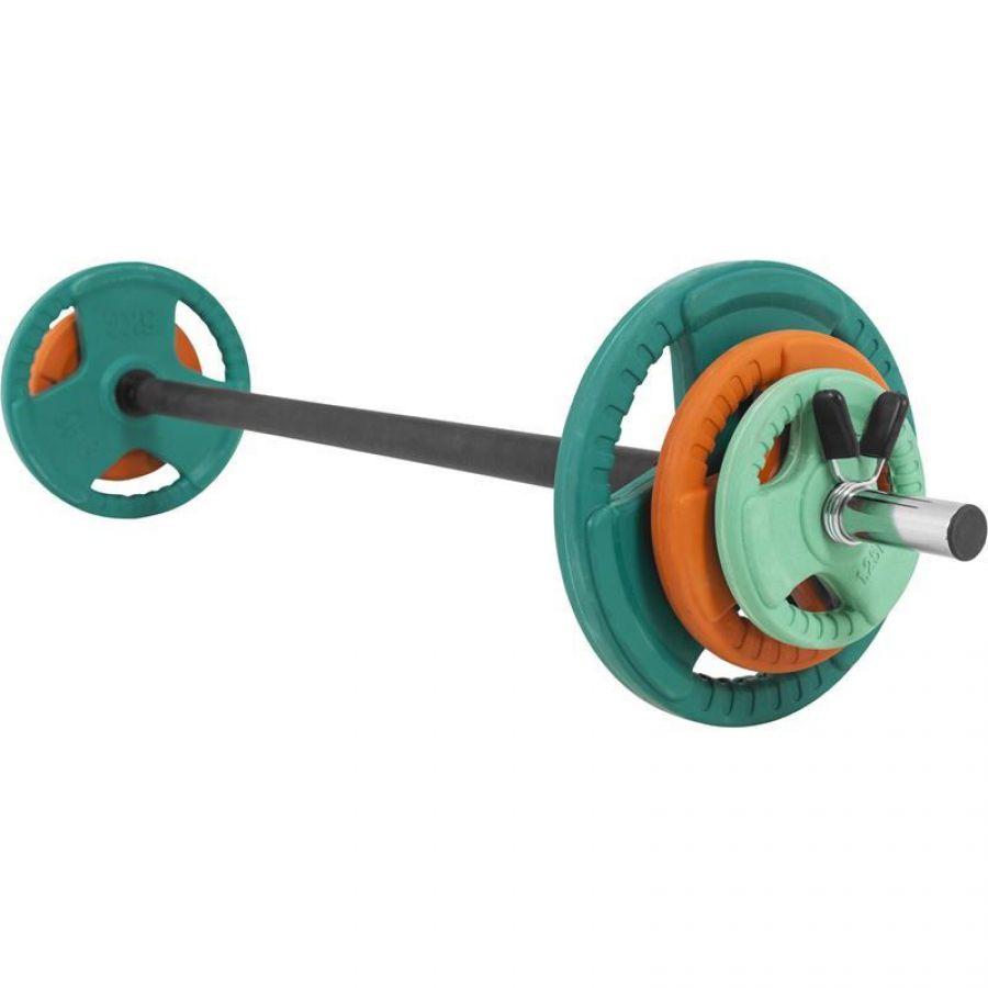 Aerobic Halterset 19,3 kg Gripper Gietijzer (Rubber Coating, Veersluiting)