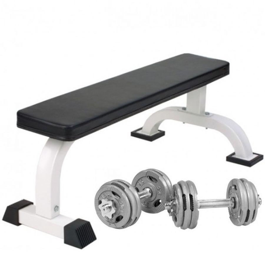 Vlakke Fitnessbank Incl. Dumbellset 30 kg Gripper Gietijzer