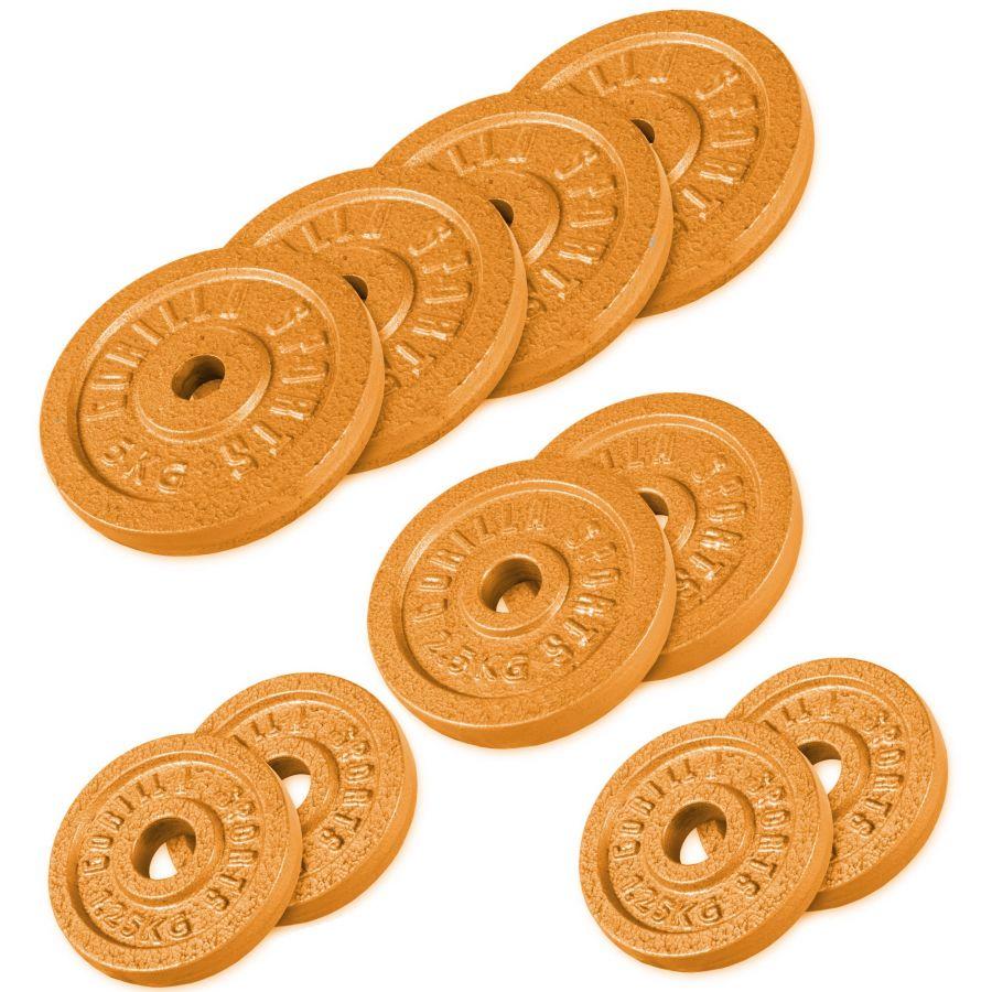 Voordeelbundel 30 kg (4 x 5 kg, 2 x 2,5 kg en 4 x 1,25 kg) Halterschijven Gietijzer Goud