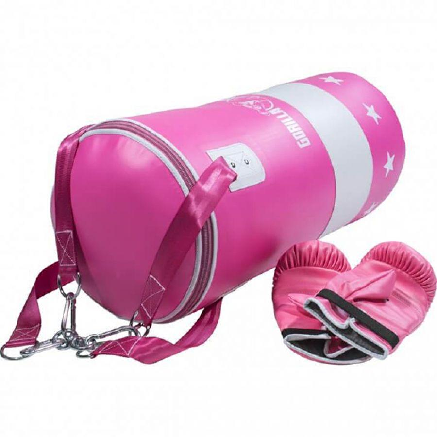 Bokszak 16 kg met handschoenen roze