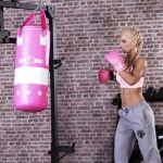 Bokszak 16 kg met handschoenen roze-100693845