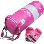Bokszak 16 kg met handschoenen roze-100693847