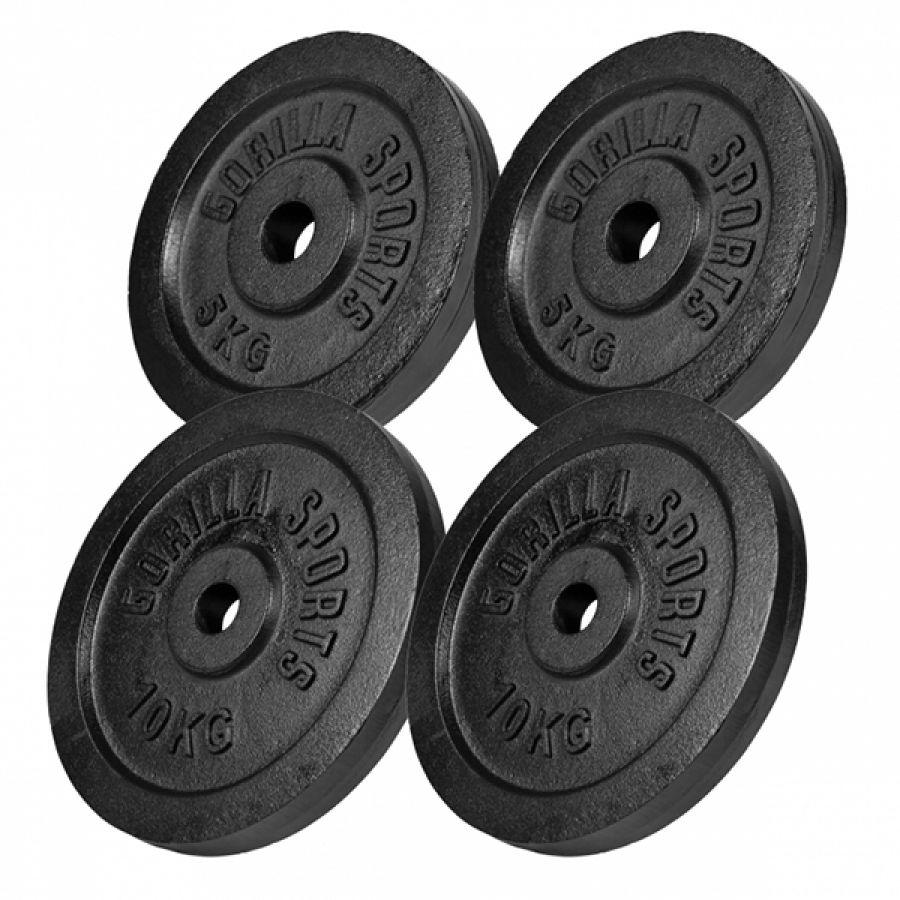 Voordeelbundel 30 kg Halterschijven Gietijzer Zwart