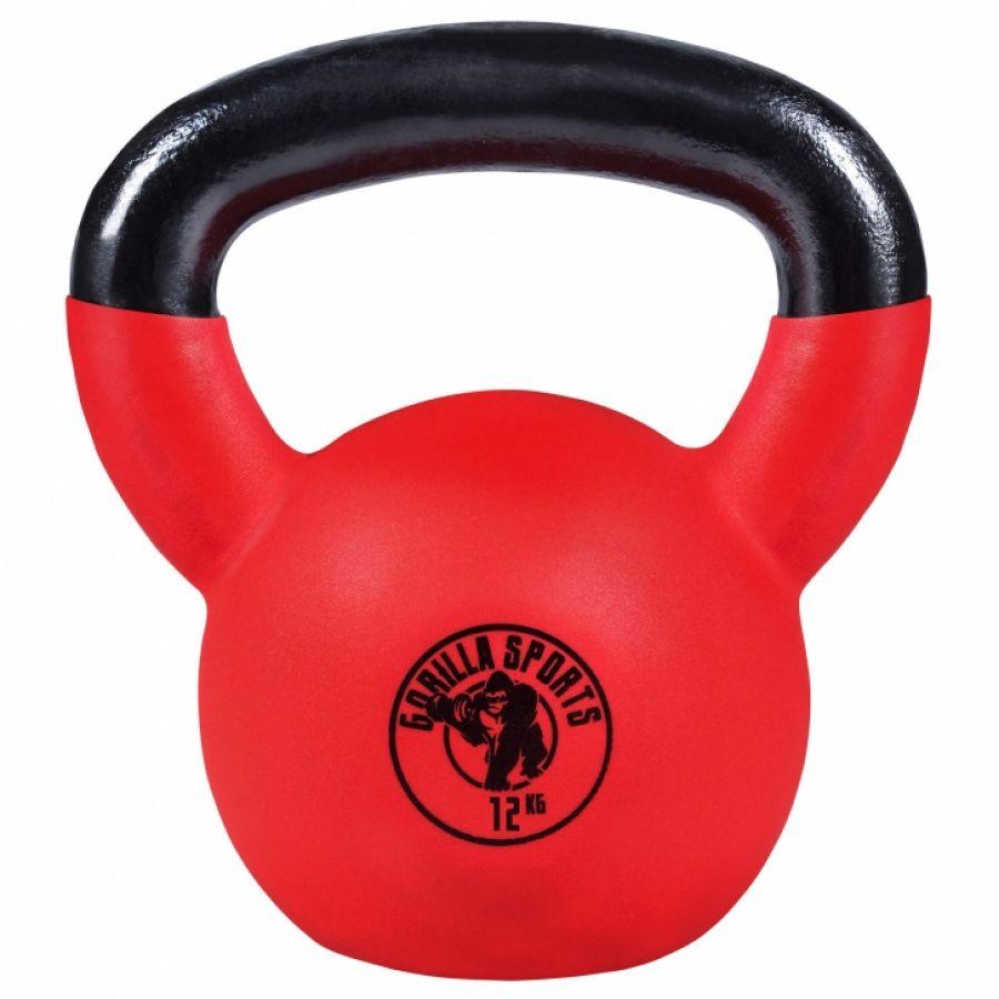 Kettlebell 12 kg Gietijzer Rubber met Coating - Gorilla Sports