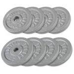 Voordeelbundel 30 kg (4 x 5 kg en 4 x 2,5 kg) Halterschijven Gietijzer-100740026