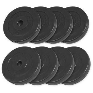 Voordeelbundel 30 kg (4 x 5 kg en 4 x 2,5 kg) halterschijven Kunststof