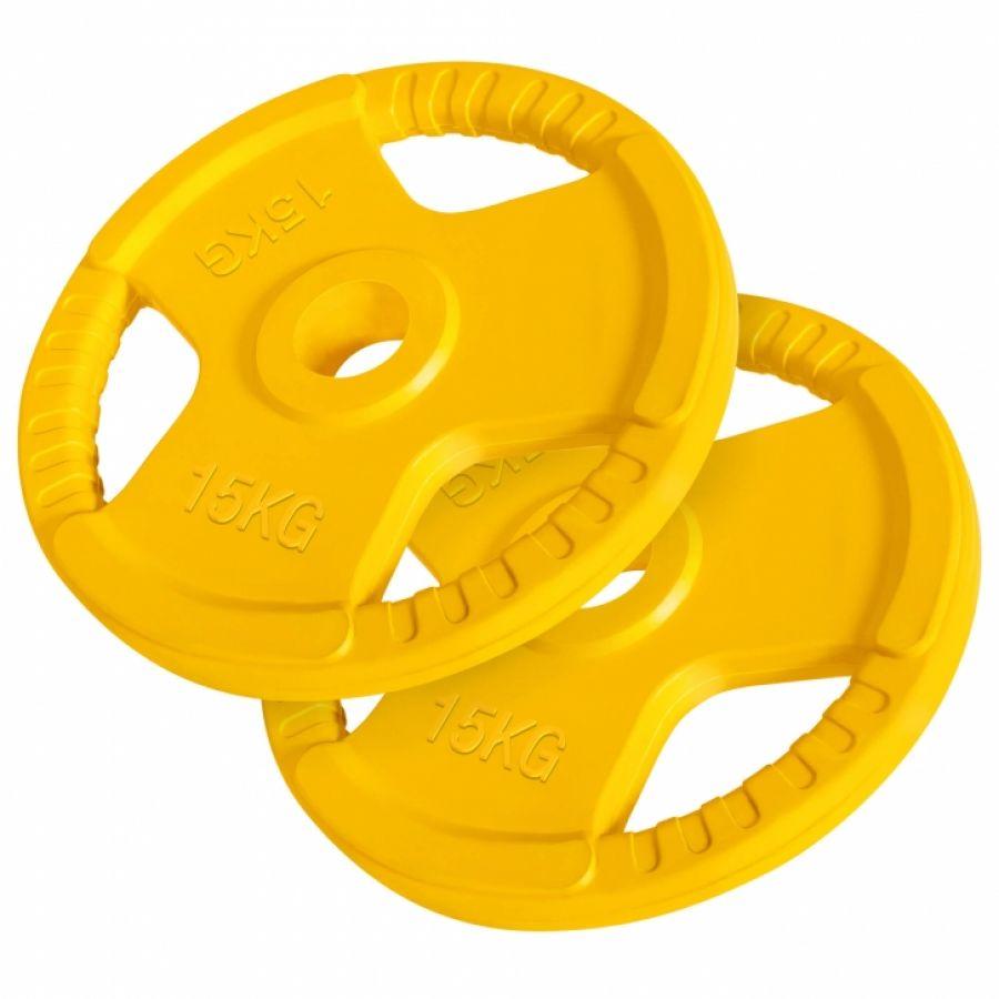 Olympische halterschijven set 2 x 15 kg Gripper Gietijzer (50/51 mm, rubber coating)