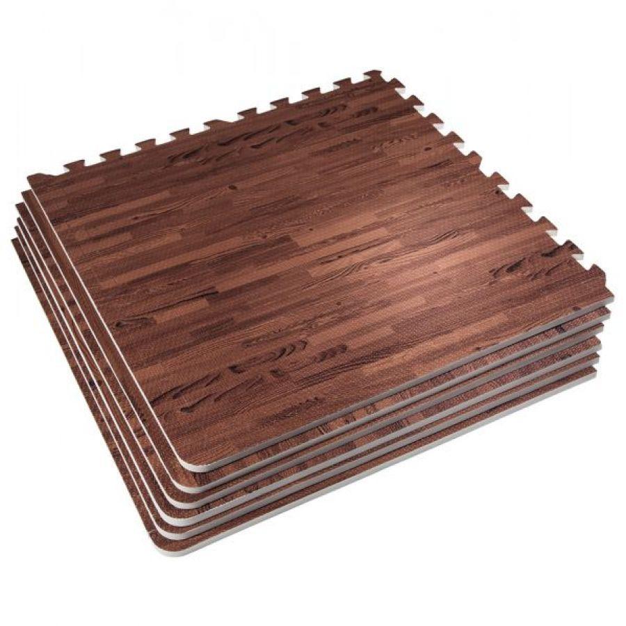 Outlet deal Sportschool Vloer Beschermingsmatten (6 matten + 12 eindstukken) Donkere houtkleur