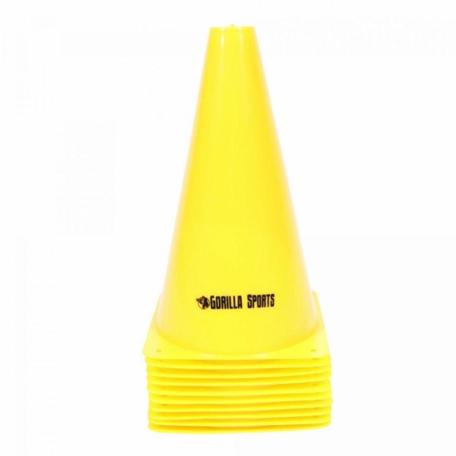 Set van 10 pionnen 23 cm geel
