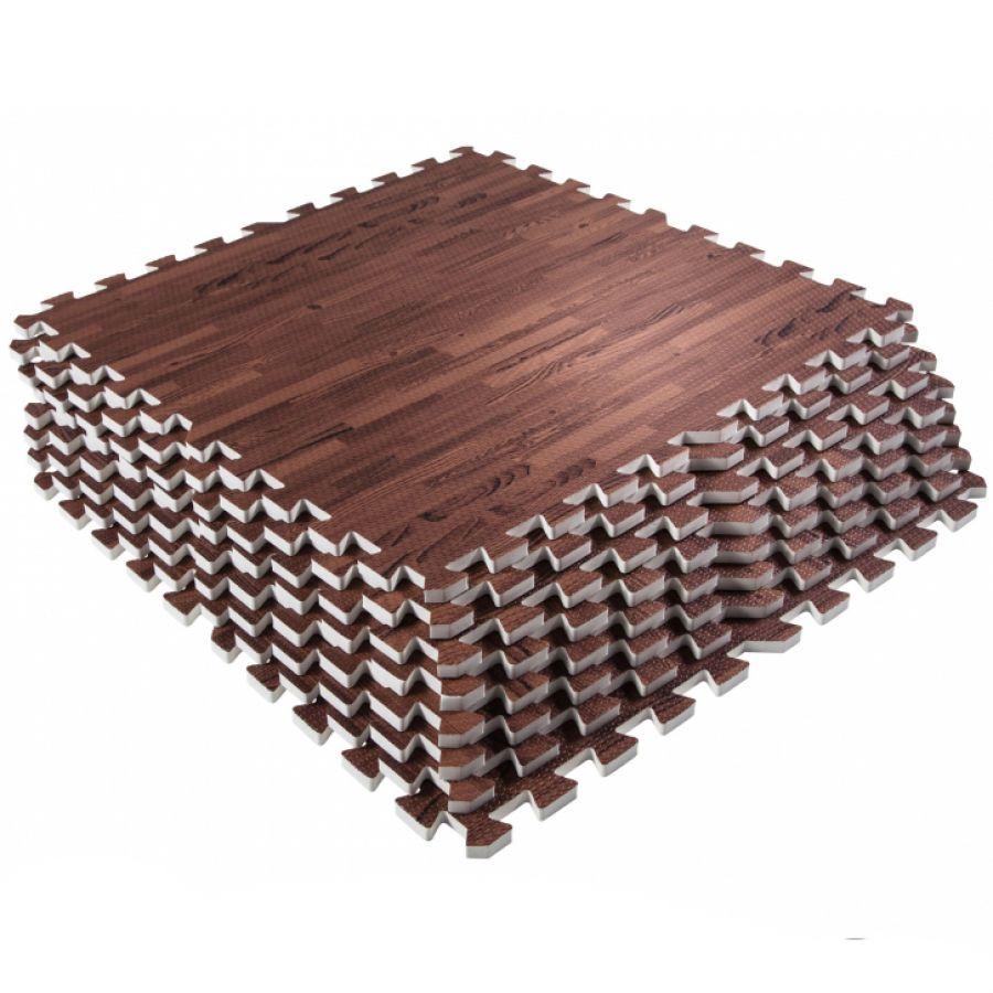 Sportschool Vloer Beschermingsmatten (8 stuks, totaal 2,88 m2) Donkere houtkleur